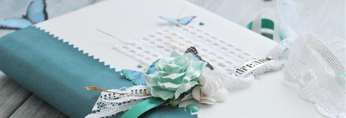 Diario creativo en ecopiel blanca y turquesa